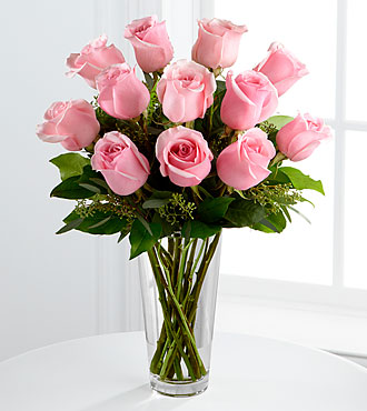 Flowers Fast coupon: Long Stem Pink Rose Bouquet by FTD