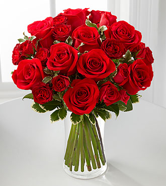 Red Romance Rose Bouquet by FTD - DELUXE