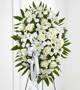 Exquisite Tribute Standing Spray - White Ribbon - S6-4447