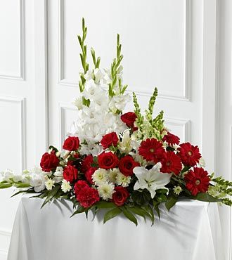 FTD Crimson and White Arrangement