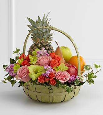 FTD Rest in Peace Fruit and Flowers Basket