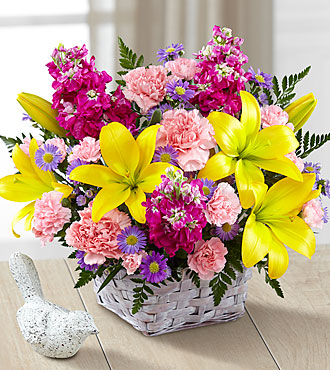 FTD Bright Lights Bouquet with Lavender Basket - DELUXE