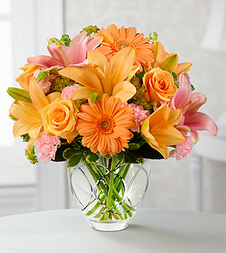 Brighten Your Day Bouquet by FTD - CUT GLASS VASE INCLUDED - DELUXE