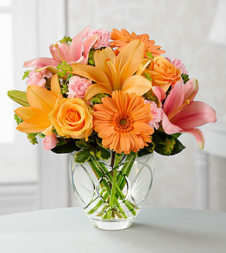 Brighten Your Day Bouquet by FTD - CUT GLASS VASE INCLUDED - BYD