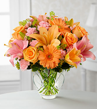 Brighten Your Day Bouquet by FTD - CUT GLASS VASE INCLUDED - PREMIUM