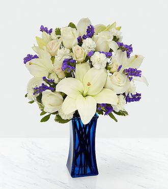 FTD Beyond Blue Bouquet - Blue and White - DELUXE
