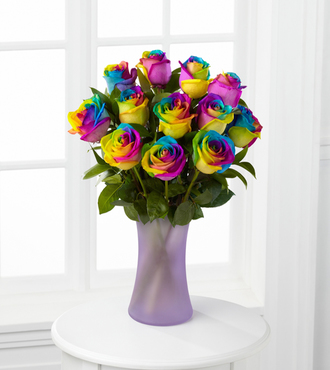 Time to Celebrate Rainbow Rose Bouquet - 12 Stems - FedEx