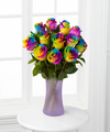 Image of Standard version for Time to Celebrate Rainbow Rose Bouquet - 12 Stems - FedEx