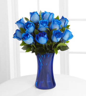 Extreme Blue Hues Fiesta Rose Bouquet - 12 Stems - FedEx