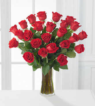 2 Dozen Red Roses with Vase - FedEx