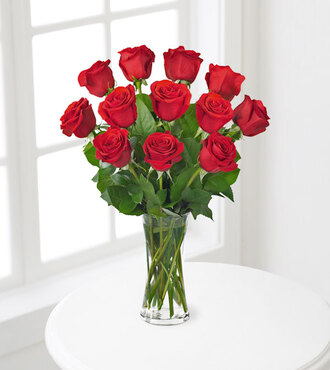 Premium Red Rose Bouquet with Vase - 12 Stems - FedEx