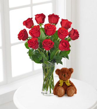 Red Roses and Hugs with Vase - FedEx