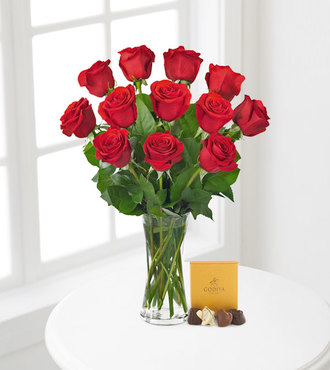 Red Rose Bouquet with Godiva Chocolates - FedEx