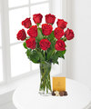 Image of Standard version for Red Rose Bouquet with Godiva Chocolates - FedEx