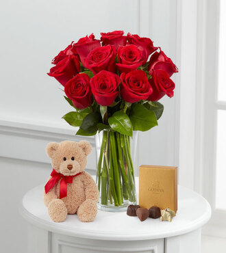 1 Dozen Long Stem Red Roses with Bear and Godiva - FedEx