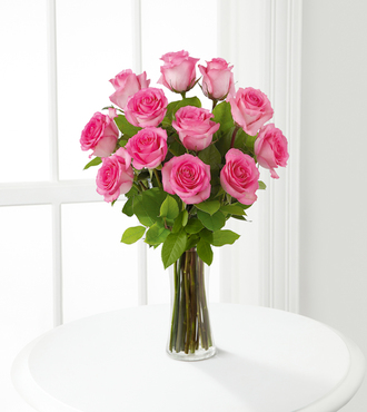 Pink Rose Bouquet With Vase 12 Stems Fedex Same Day Delivery