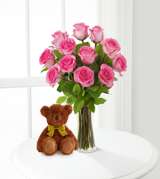 Pink Roses and Hugs with Vase - FedEx