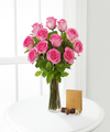 Pink Rose Bouquet with Godiva Chocolate and Vase - FedEx