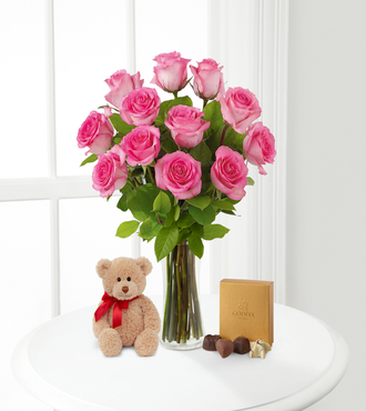 Pink Roses with Bear and Godiva - FedEx