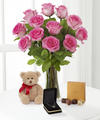 Pink Roses with Hugs Chocolate, and Heart Pendant - FedEx
