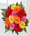Simply Cheerful Mixed Rose Bouquet - 12 Stems of 16-inch Roses no vase - FedEx