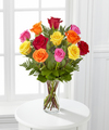 Sweetheart Mixed Rose Bouquet with Vase - FedEx