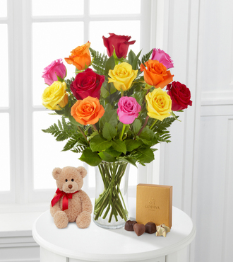 Mixed Roses with Bear and Godiva - FedEx - WGF493