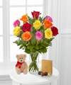 Image of Standard version for Mixed Roses with Bear and Godiva - FedEx