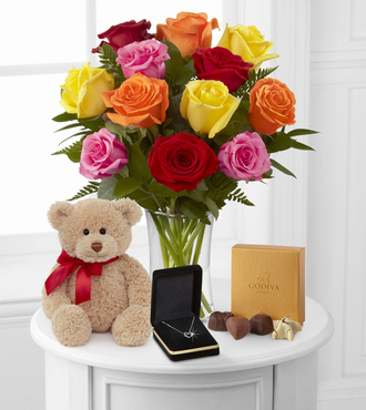 Mixed Roses with Hugs Chocolate, and Heart Pendant - FedEx