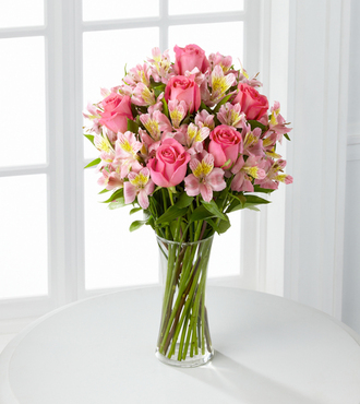 dreamland pink rose bouquet with vase - fedex - valentine's day, Ideas