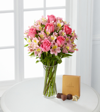 Dreamland Pink Bouquet with Vase and Godiva Chocolates - FedEx