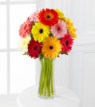 Colorful World Gerbera Daisy Bouquet - 12 Stems - Vase Included - FedEx