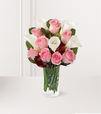 Rose and Lily Celebration Bouquet with FREE Vase - 13 Stems - FedEx