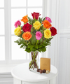 1 Dozen Long Stem Mixed Roses with Godiva - FedEx