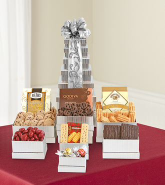 Shimmering Gourmet Gift Tower - FedEx
