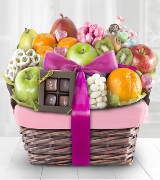 Spring Sensation Fruit and Sweets Gourmet Gift Basket - Deluxe - FedEx