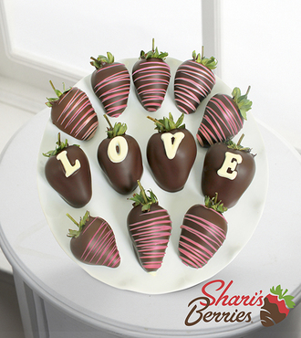 Chocolate Dipped Love Berry Gram Strawberries - 12-piece - FedEx