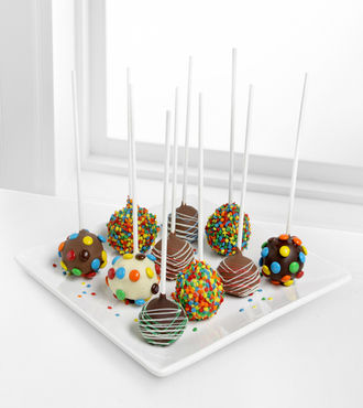 Golden Edibles Birthday Belgian Chocolate-Dipped Cake Pops - FedEx - WGGF45