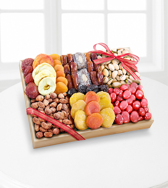 Season's Snacks Holiday Dried Fruit Nuts and Sweets Tray -GOOD - FedEx