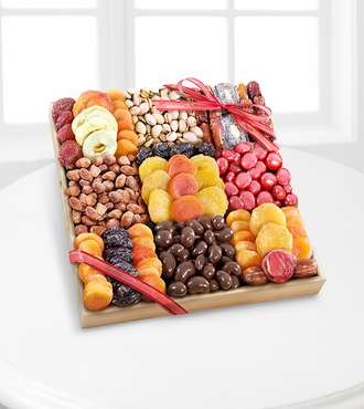 Season's Snacks Holiday Dried Fruit Nuts and Sweets Tray - Deluxe - FedEx