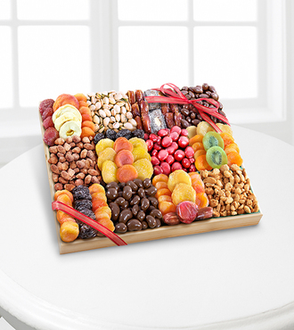 Season's Snacks Holiday Dried Fruit Nuts and Sweets Tray - Premium - FedEx