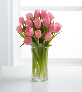 Pink Prelude Tulip Bouquet with FREE Glass Vase - FedEx