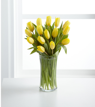 Sunshine's Promise Tulip Bouquet - 15 Stems with Vase - FedEx - WGTUL15Y
