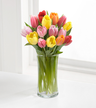 Rush of Color Assorted Tulip Bouquet with FREE Vase - 15 Stems - FedEx - WGTULMIX