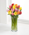 Rush of Color Assorted Tulip Bouquet with FREE Vase - 15 Stems - FedEx