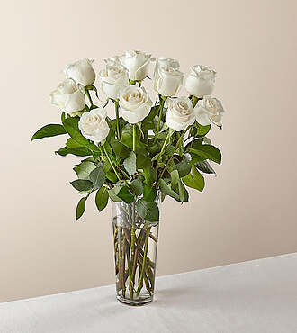 Long Stem White Rose Bouquet - E5435