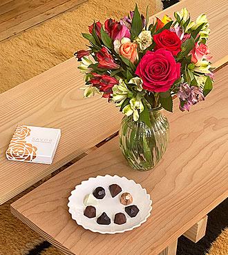 Smiles and Sunshine Bouquet with Glass Vase and Box of Chocolates - FedEx - FB336BD