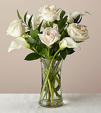 6 Stem Vision in Ivory Rose and Calla Lily Bouquet - FedEx - FK1027