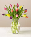 Image of Standard version for 15 Stem Spring Breeze Multicolored Tulip Bouquet With Vase - FedEx