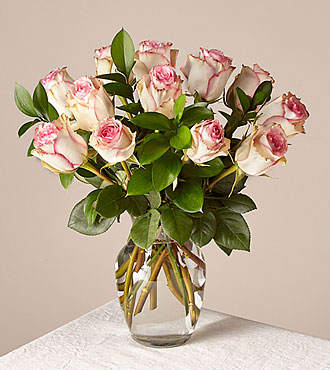 Pink Champagne Rose Bouquet 12 Stem With Vase - FedEx - PMS12V